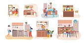 Set of seven kitchen scenes showing people cooking with housewives, kids, young families and couples in different activities, colored vector illustration