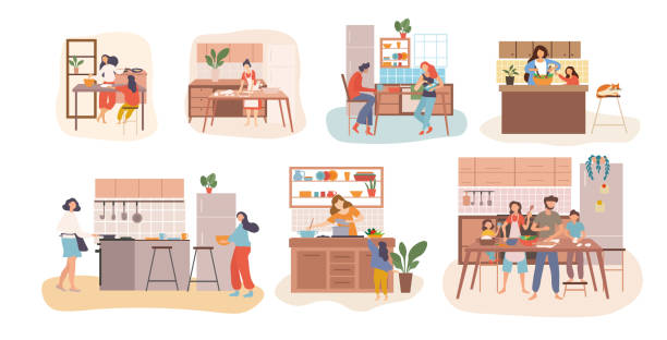 Set of seven kitchen scenes showing people cooking Set of seven kitchen scenes showing people cooking with housewives, kids, young families and couples in different activities, colored vector illustration cooking stock illustrations
