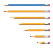 istock Set of seven pencils on white background 592670700