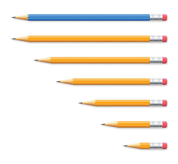 set of seven pencils on white background - ołówek stock illustrations