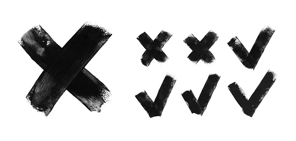 Set of seven trendy flat examples of check mark and cross icons - hand painted by black acrylic paint on white paper background vector illustration with amazing uneven natural irregular brush strokes - graphic signs of truth or falsehood