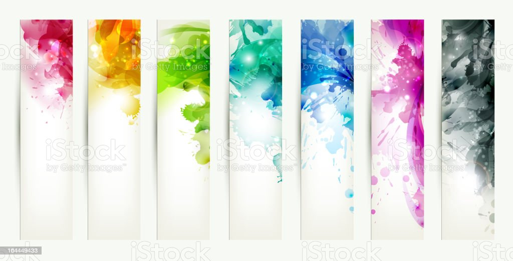 set of seven varicolored headers vector art illustration