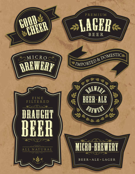 Set of seven vintage retro beer labels with sample text​​vectorkunst illustratie