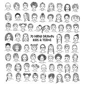 Diverse portraits of kids and teens of different ethnicities, black and white ink illustration