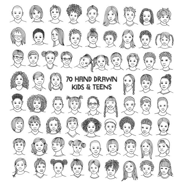 Set of seventy hand drawn children's faces Diverse portraits of kids and teens of different ethnicities, black and white ink illustration caucasian ethnicity stock illustrations