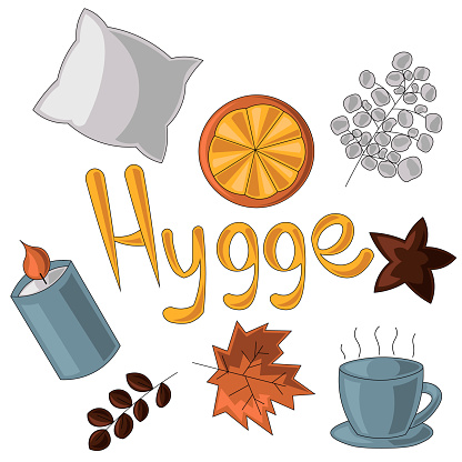 Set of several elements on the theme of Hugge