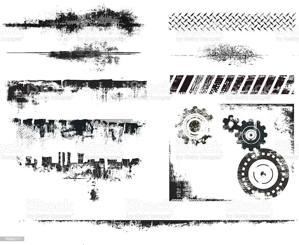Set of several grunge elements vector art illustration