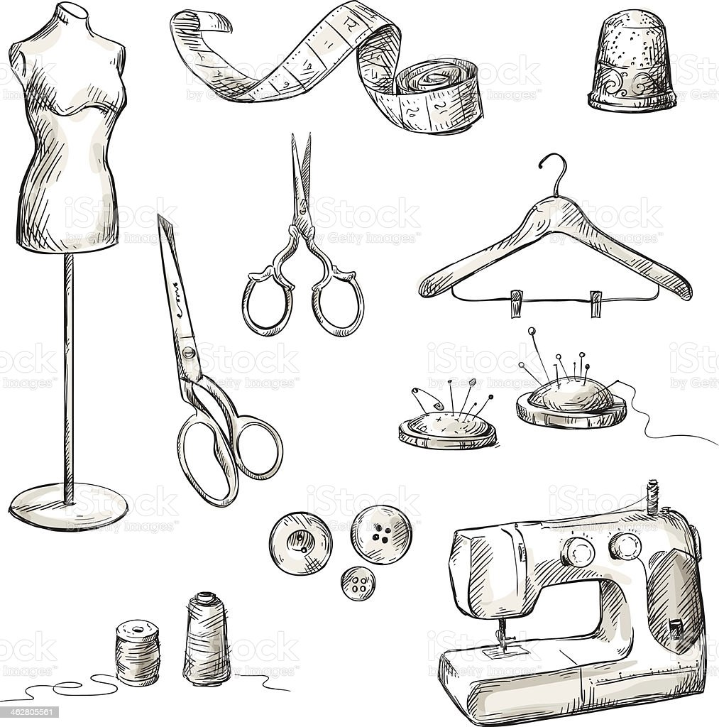 set of sewing accessories drawings vector art illustration