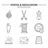 Set of sewing and needlework line icons.