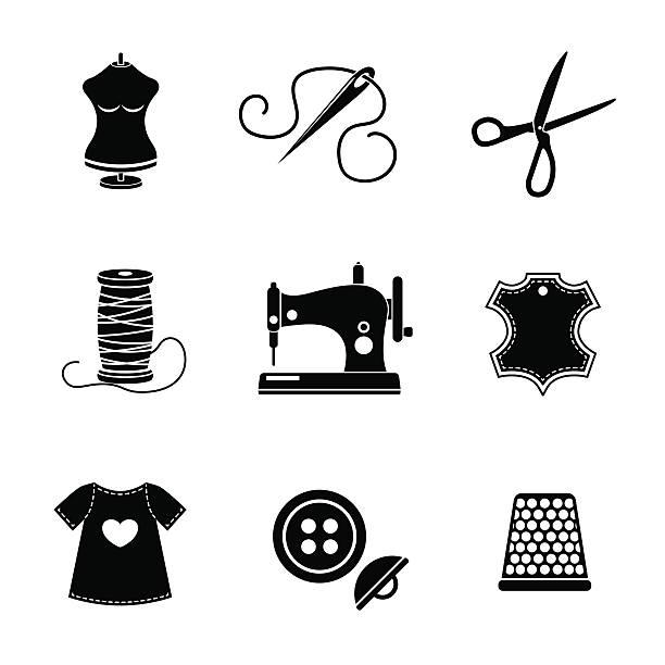 satz von nähen icons-maschine, schere, hochwertigen leder-etikett - lederverarbeitung stock-grafiken, -clipart, -cartoons und -symbole