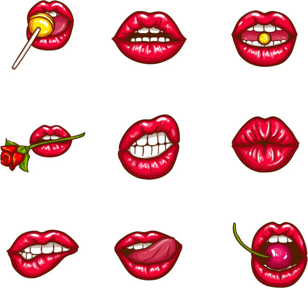 set of sexy female lips in red glossy lipstick - zmysłowość stock illustrations