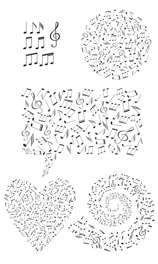 Set of shapes filled with music notes. Circle, heart, message, spiral shapes.