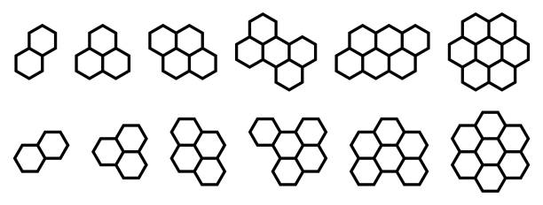 Set of shapes made from hexagonal or honeycomb six sided polygon vector art illustration