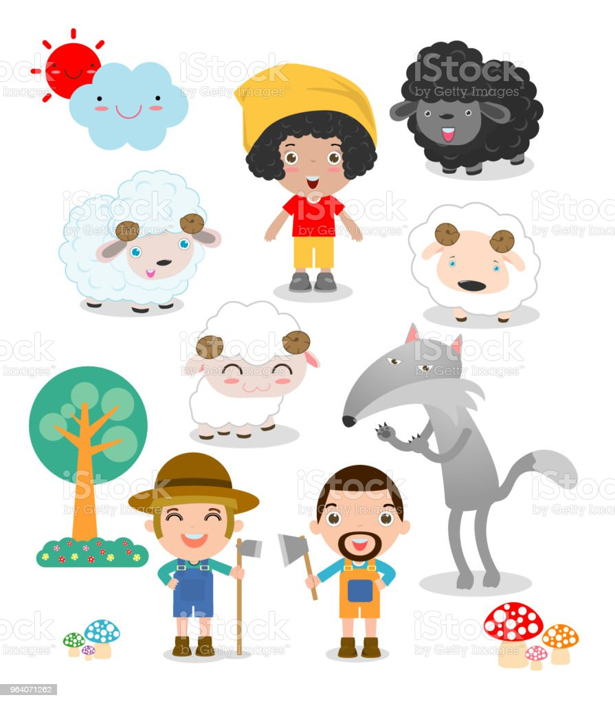 Set of shepherd boy with wolf , story for kids vector illustration - Royalty-free Adult stock vector
