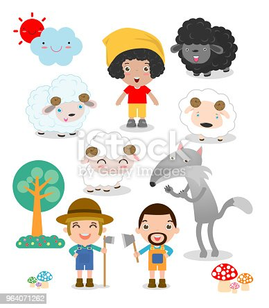 istock Set of shepherd boy with wolf , story for kids vector illustration 964071262