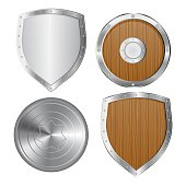 Set of shields vector illustration isolated on white background