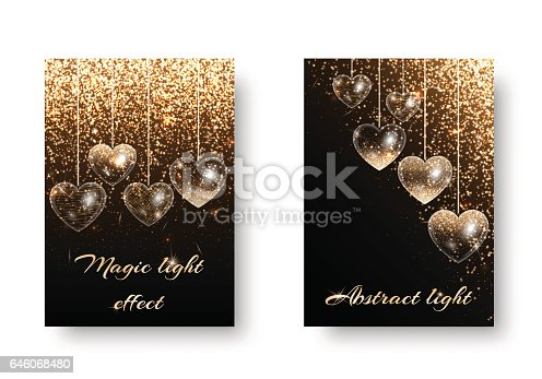 Set of shiny backgrounds with hearts