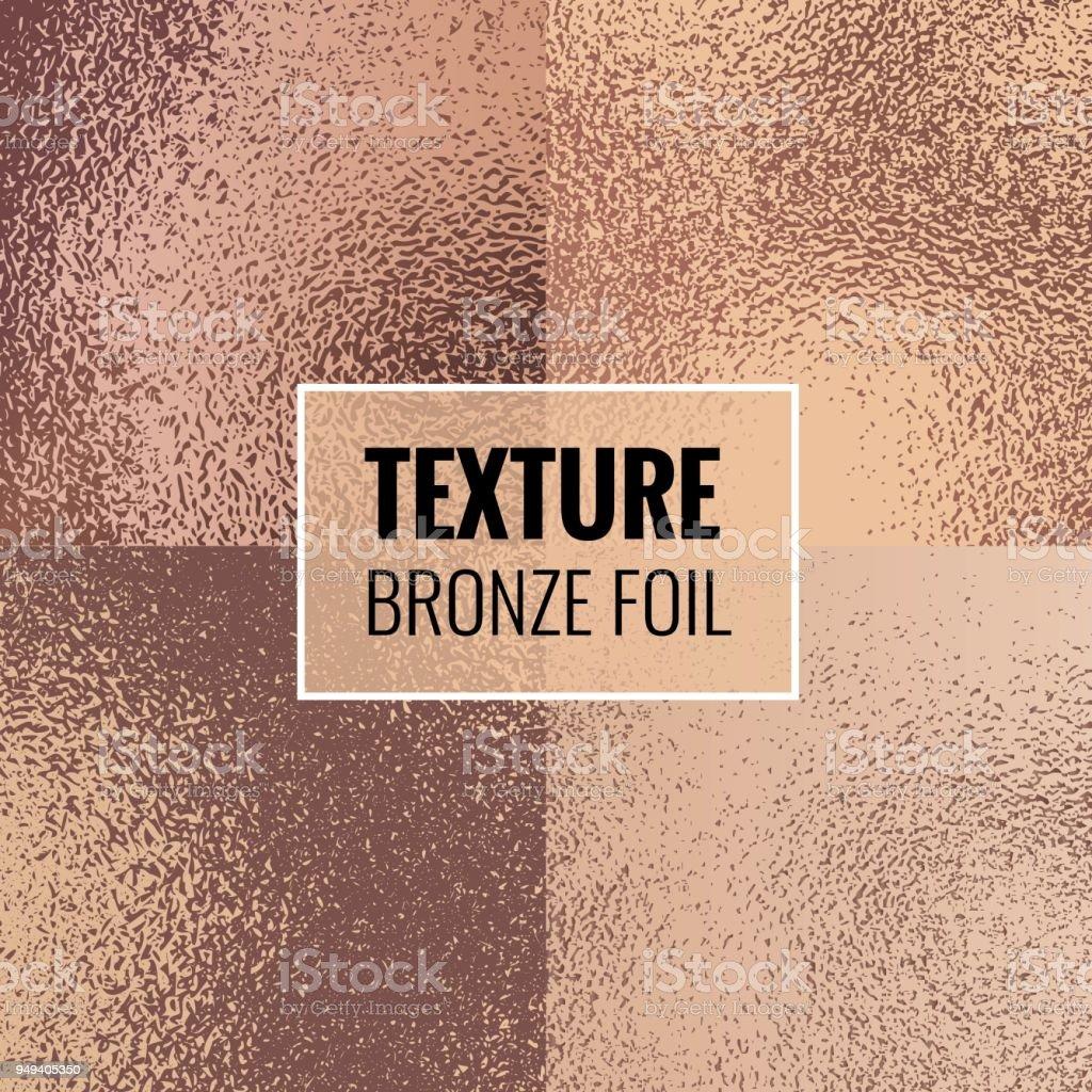 Set of shiny bronze foil textures. vector art illustration