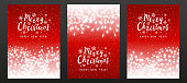 Set of three greeting cards with fireworks on a red background with stars. New Year and Christmas cards