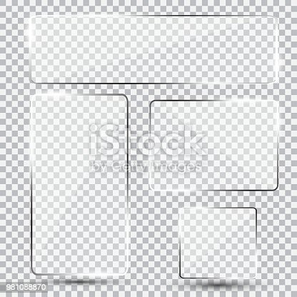 Set of shiny glass plate. Clear glass showcase on a trasnparent background. Realistic window, phone protective film, mirror mockup.