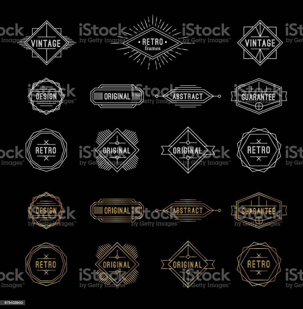 Set of shiny gold and white geometric vintage labels with the place for text. royalty-free set of shiny gold and white geometric vintage labels with the place for text stock illustration - download image now
