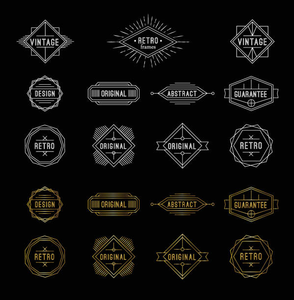 Set of shiny gold and white geometric vintage labels with the place for text. vector art illustration
