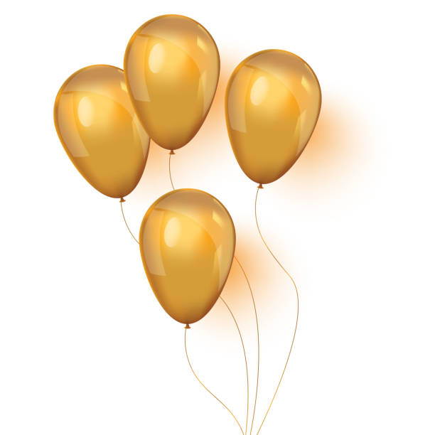 Set of shiny golden balloons for your design vector art illustration