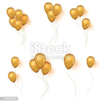 Realistic 3D Gold helium balloons on white background. Set of shiny golden balloons for your design. Glossy gold festive 3d helium ballons.