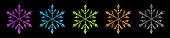 Set of beautiful shiny complex Christmas snowflakes made of sparkles in various colors