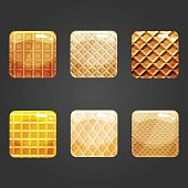 Set of shiny waffle square button