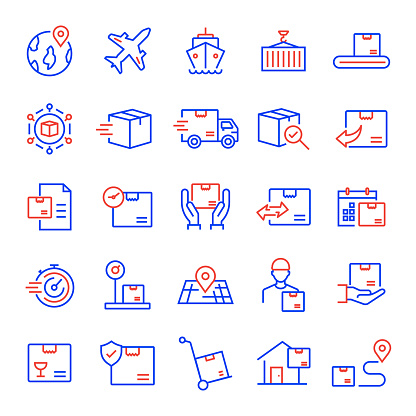 Set of Shipping, Logistic and Delivery Related Line Icons. Editable Stroke. Simple Outline Icons.