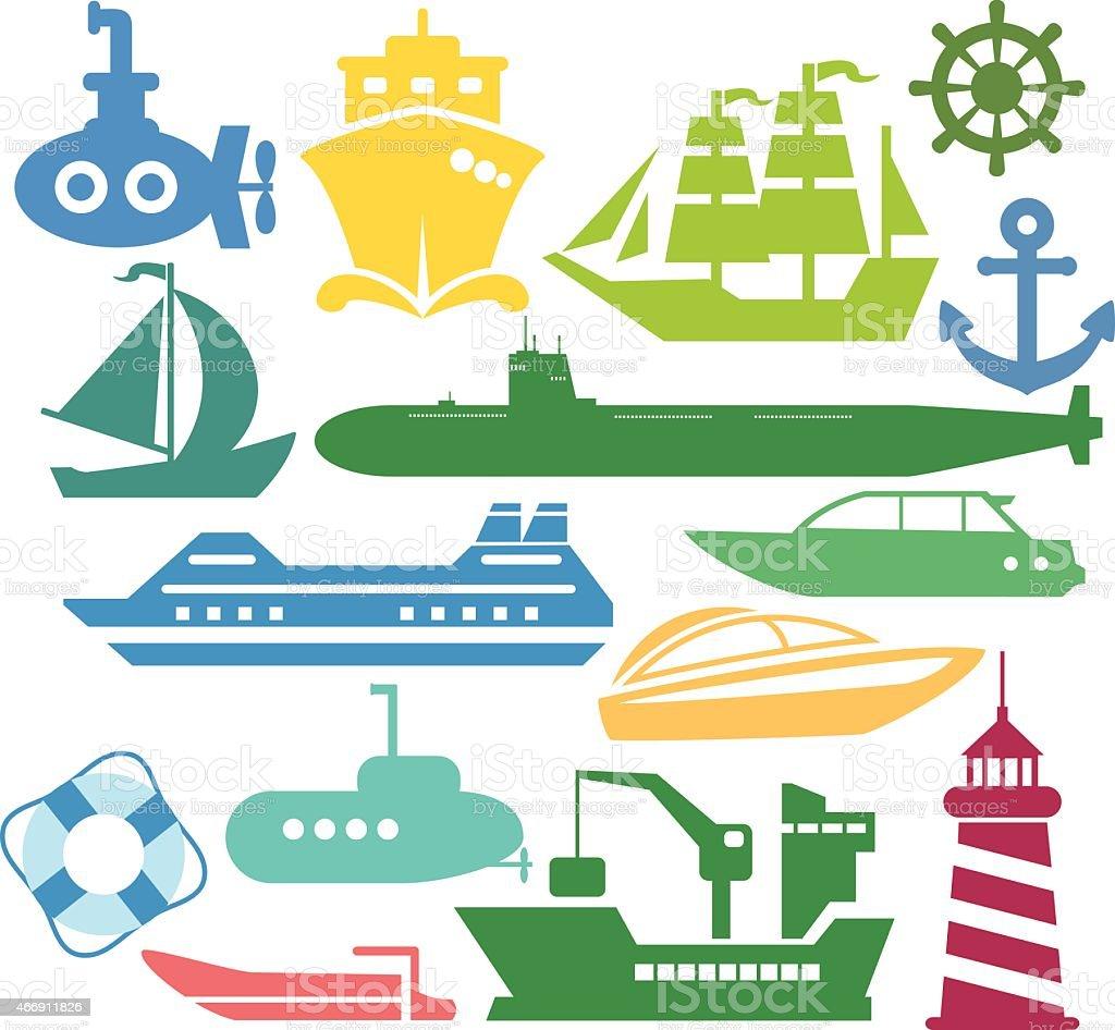 Set of ships and boats vector art illustration