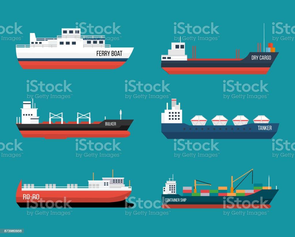Set of ships in modern flat style. vector art illustration
