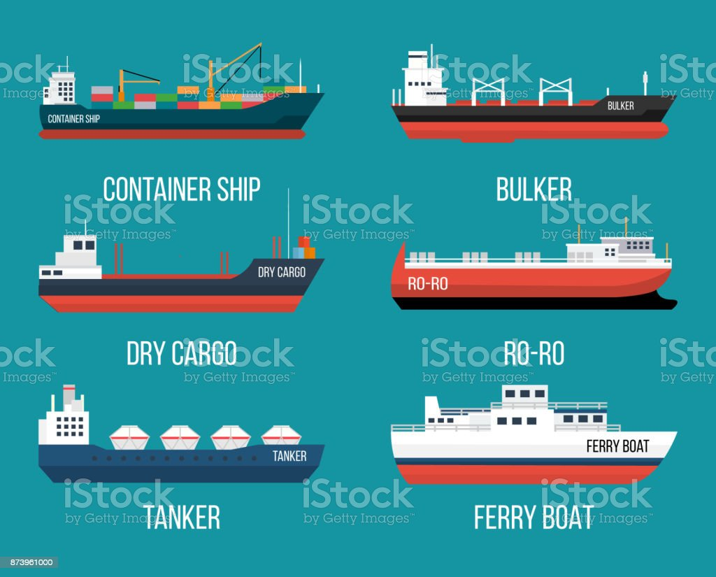 Set of ships in modern flat style. - Royalty-free Blood Vessel stock vector