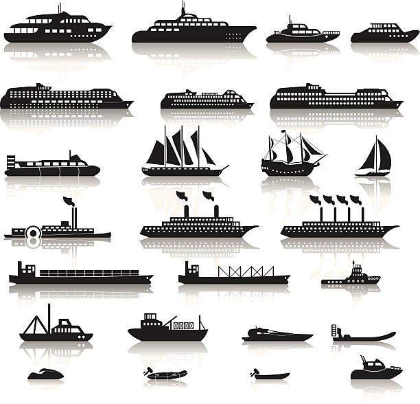 ilustrações de stock, clip art, desenhos animados e ícones de conjunto de navios - fishing boat