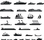 set of vector ships