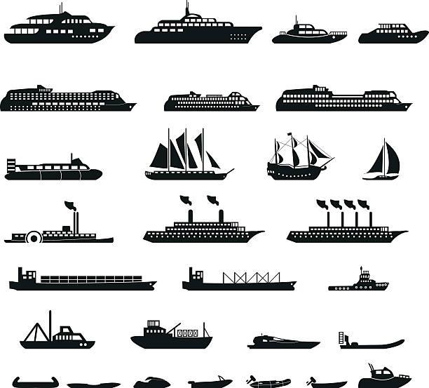 zestaw statków - statek stock illustrations