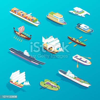 Set of ships: passenger sea ships, cargo boats, ferries, vessel, tourist cruise liner, military warship, cargo ships. Water transport for travel, trip, vacation, transportation. Isometric vector.