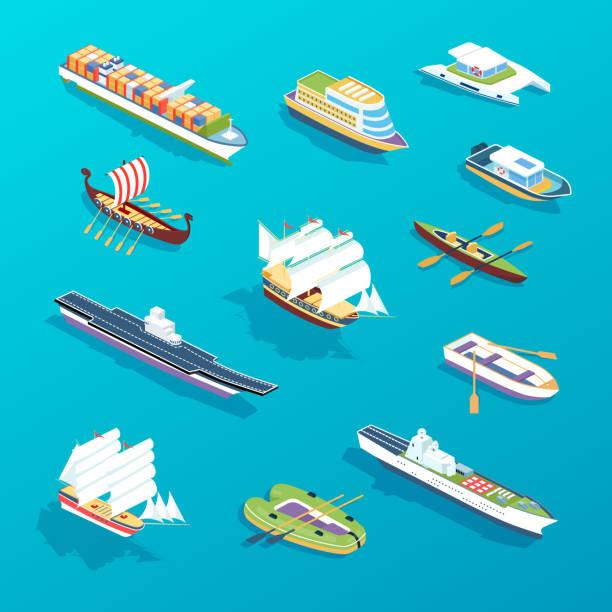 船のセット。水の旅行、旅行、休暇、交通のための輸送。 - 小型船舶点のイラスト素材/クリップアート素材/マンガ素材/アイコン素材