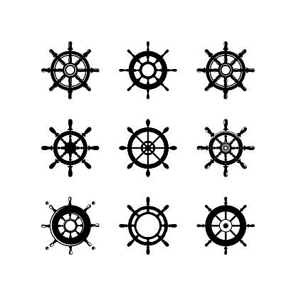 set of Ship's Wheel Logo Template Design