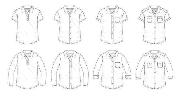 셔츠 버튼 업 블라우스 패션 세련 된 t 셔츠 폴로 컬렉션 템플릿, 빈 조끼를 채우기 다양 한 스타일의 짧은 긴 소매 포켓과 옷 깃 개요 - 셔츠 stock illustrations