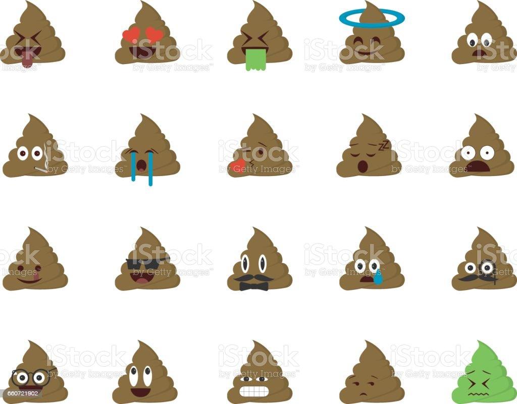 Set of shit emoticon vector art illustration