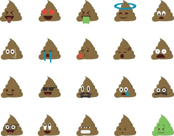set of shit emoticon - tears of joy emoji stock illustrations, clip art, cartoons, & icons