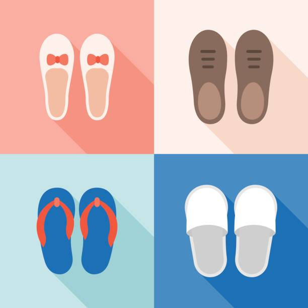 set of shoes icon - old man shoes stock illustrations, clip art, cartoons, & icons