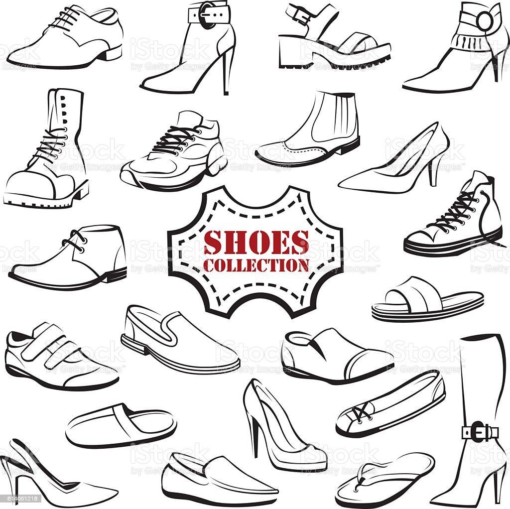 set of shoes vector art illustration