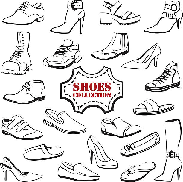 illustrations, cliparts, dessins animés et icônes de set of shoes - chaussure