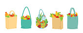 Set of shopping and grocery bags. Natural farm healthy food, organic fresh fruits and vegetables. Save the planet and the environment. Eco life. No waste or plastic. Isolated vector illustration