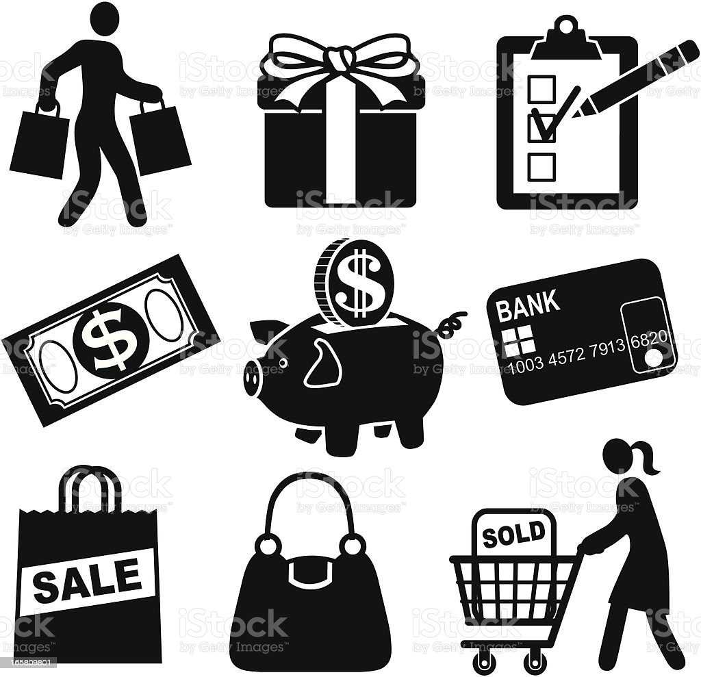 A set of shopping and sale icons royalty-free stock vector art