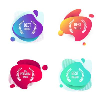 Set of Shopping Badges - Modern Colorful Fluid Liquid Banner Design
