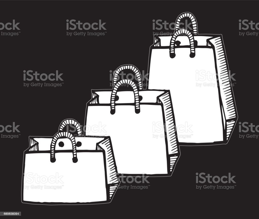 Set of shopping bags isolated. Vector illustration of a sketch style. - Illustration Bag, Drawing - Activity, Ink, Internet, Manufactured Object royalty-free set of shopping bags isolated vector illustration of a sketch style illustration bag drawing activity ink internet manufactured object stock vector art & more images of arts culture and entertainment